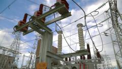 Passage through a strong power substation Stock Footage