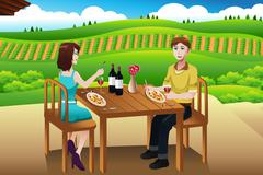 Couple eating lunch picnic at a winery Stock Illustration