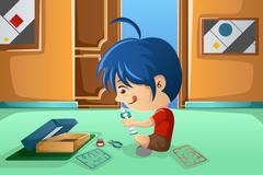 Kid assembling a robot - stock illustration