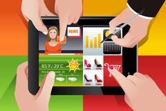 People using tablet PC - stock illustration
