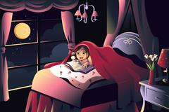 Girl reading a book in the bedroom Stock Illustration
