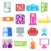 Computer component icons Stock Illustration