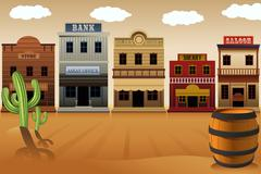 Stock Illustration of Old western town