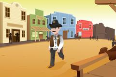 Sheriff walking on an old western town - stock illustration