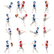 Stock Illustration of Boy and girl in taekwondo outfit