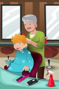 Kid getting a haircut Stock Illustration