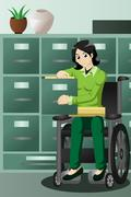 Businesswoman in wheelchair working in the office, filing files in the cabine Stock Illustration