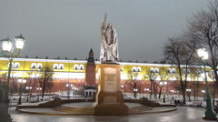 Stock Video Footage of Monument to Ermogen in Alexander's garden in Moscow timelapse hyperlapse