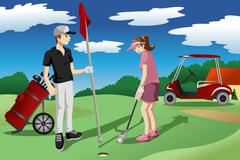 Young people playing golf - stock illustration