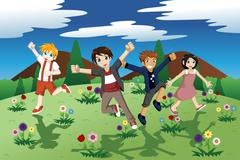 Children running on the open field of wild flowers Stock Illustration