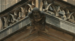 Statue on St Vitus Cathedral in Prague Stock Footage