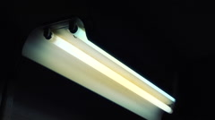 Fluorescent Lights Swinging In Creepy light  Sound! - stock footage