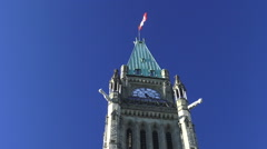 The Peace Tower (Tour de la Paix), Parliament Hill, Ottawa, Ontario, Canada 2015 Stock Footage