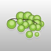 Flat sticker berry - stock illustration