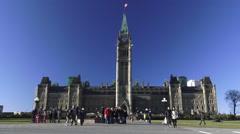 The Peace Tower (Tour de la Paix), Parliament Hill, Ottawa, Ontario, Canada 2015 - stock footage