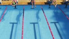 Aerial - Swimming Competition - Pool 06 Stock Footage