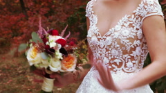 Wedding bridal bouquet nature Stock Footage