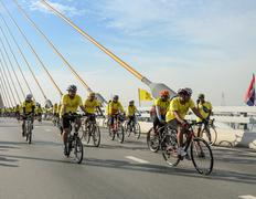 Unidentified Thai cyclists at Bike for the King event in Bangkok, Thailand Stock Photos