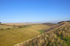 yorkshire wolds valley - stock photo