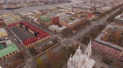Aerial Shoot Sankt Petersburg flying roofs . Nevsky Avenue . Russia. Stock Footage