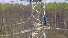 Flight over the high-voltage power support Stock Footage