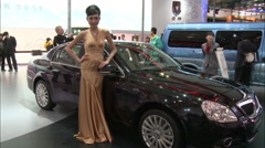 Brilliance Auto Exhibit at Beijing Auto Show Stock Footage