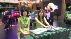 Stand hostesses, 2010 Beijing Auto Show Stock Footage