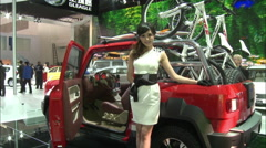 Chinese auto show girl, Beijing, China Stock Footage