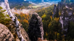 4k UHD. Dawning above the Elbe Sandstone Mountains.Saxon, Bastei, Germany, Switz - stock footage