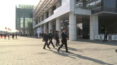 People, China Exhibition Center, Beijing Stock Footage