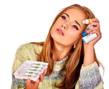 Upset women. The reasons may be different. Colds, allergies or depression Stock Photos