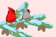 Birds on a tree branch Stock Illustration