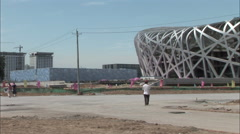 Olympic Stadiums under construction, Beijing Stock Footage