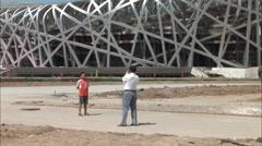 Birds Nest, father & son photo, Beijing Stock Footage