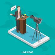 Live news flat isometric vector concept. Stock Illustration