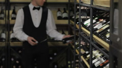 Close up face confident sommelier - stock footage