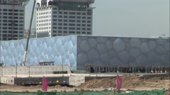 Water Cube Stadium construction, China Stock Footage