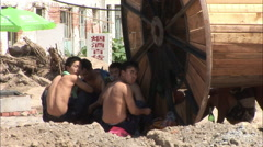 Migrant construction workers at lunch, China - stock footage
