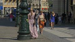 Walking in Lesser Town Square in Prague Stock Footage