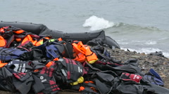 Life vests from refugees Stock Footage