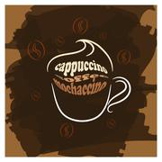 Cappuccino cup brown poster print - stock illustration