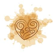 Abstract heart on coffee stain background - stock illustration