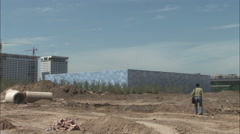 Beijing Olympic Water Cube construction Stock Footage
