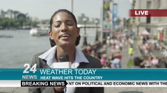 4K TV weather reporter doing live piece to camera outdoors in the city of London - stock footage