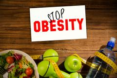 Stock Photo of Composite image of stop obesity