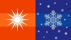 Sun and snowflake, climate symbol - stock illustration