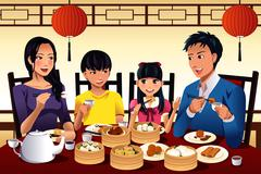 Chinese family eating dim sum Stock Illustration