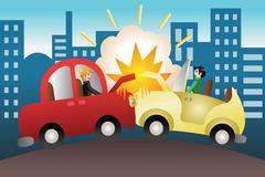 Stock Illustration of Car accident in the city
