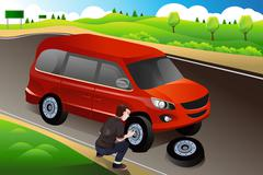 Man changing flat tire Stock Illustration