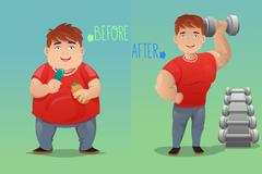 Before and after: weight loss Stock Illustration
